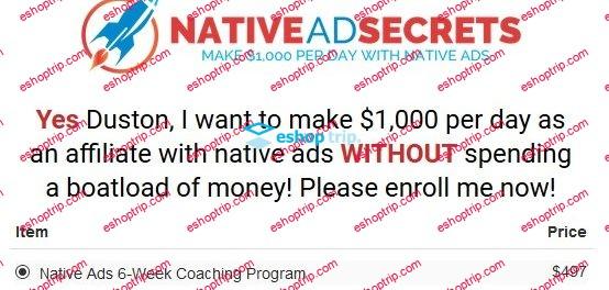 Duston McGroarty Native Ads 6 Week Coaching Program