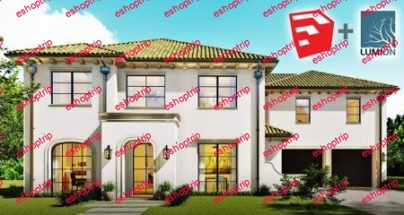 SketchUp 2D to 3D Spanish Modern Home Design